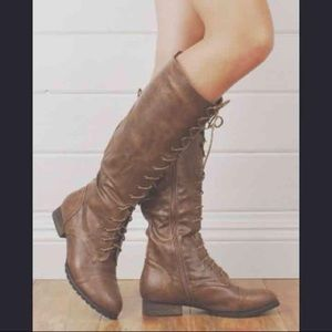 Shoes - Tall Brown Combat Boots | Like Free People