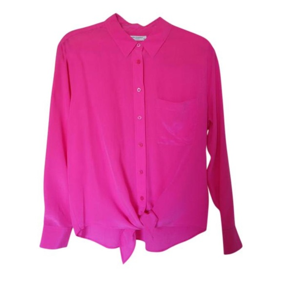 332ddfee7b7962 NWT Equipment hot pink daddy tie front silk blouse.  M 586aee1deaf0304198119411