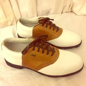 Etonic Shoes - Etonic Comfort White and Tan Leather Golf Shoes