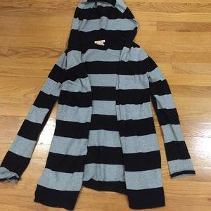 Sweet Romeo Sweaters - Sweet Romeo Black and Grey Striped Cardigan w Hood