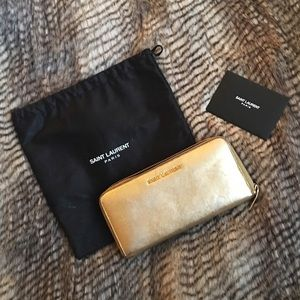 Classic Letters Saint Laurent Zip Around Wallet
