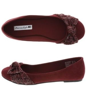 American Eagle by Payless Shoes - American Eagle Plum/Wine Flat with Glitter Bow