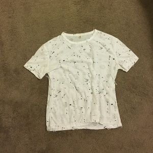 ROMWE Tops - White Tee with paint splatter and hole pattern