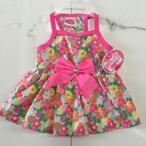 Glamour to the Bone Other - Dog puppy dress pet pink green floral bow XS