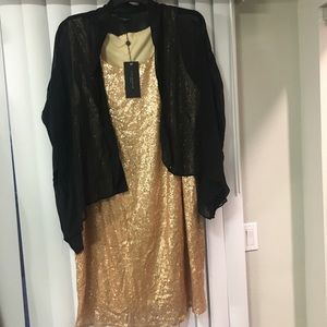 Live Unlimited London Dresses & Skirts - Gold sequined shift with Sheer Kimono