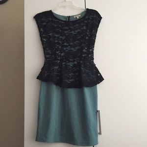 Dresses & Skirts - Jade green black lace dress size small
