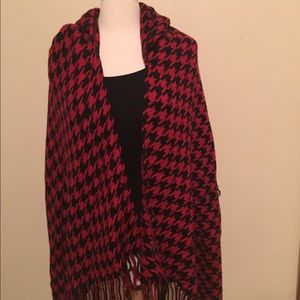 Red and Black Tweed poncho with hood
