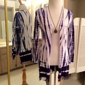 Soft Surroundings Sweaters - Tie Dye Cotton Fringed Cardigan