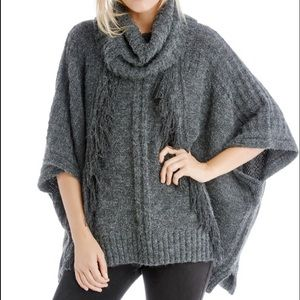 Sole Society Grey Fringe Poncho Sweater