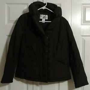 Dark brown women's puffer jacket w/puff collar
