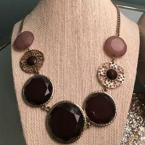 Statement necklace- brown gems