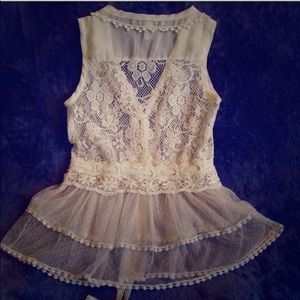 Tops - Cream lace eyelet v crochet vest urban outfitters