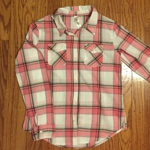 Girls Plaid Long Sleeve-T. Size 10/12