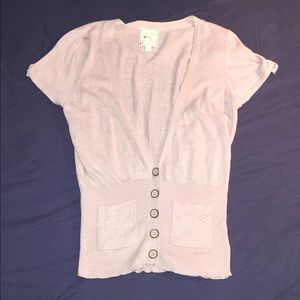 Pink Rose Tops - Blush Short Sleeve Fitted Cardigan