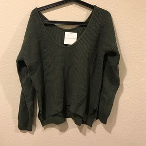 Goodnight Macaroon Sweaters - NWT Goodnight Macaroon green knit v neck sweater