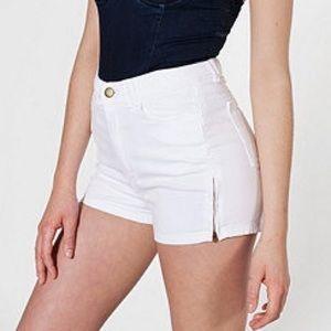 American Apparel White High-Waist Zipper Short