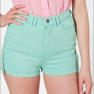 American Apparel Mint High-Waist Zipper Short