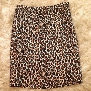 J.Crew classic leopard cotton pencil skirt sz 4