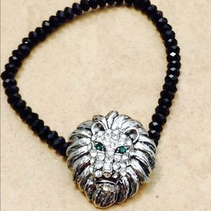 Silver Tone Crystal Lion Bead Stretch Bracelet