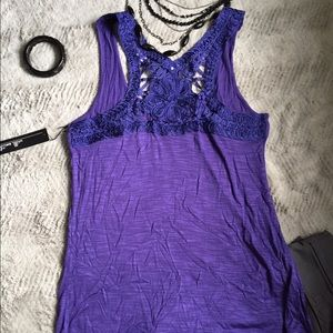 Willi Smith Tops - Lace Threaded back Purple Tank