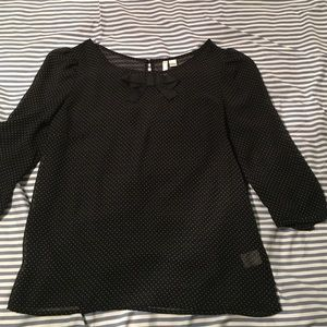 LC Lauren Conrad black polka dot bow top