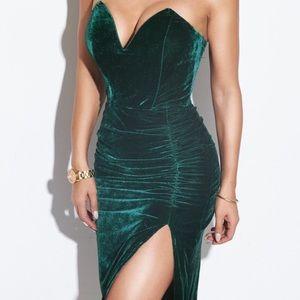 Green Velvet Slit Midi Dress