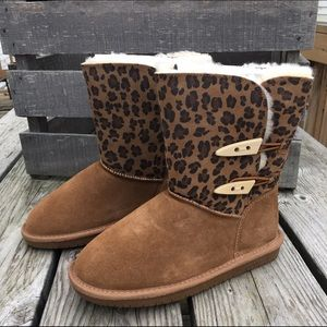 Genuine Suede Ocelot Print Winter Boots! NEW!