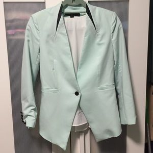 Ovi Jackets & Blazers - NWOT Pastel blue blazer with faux leather detail