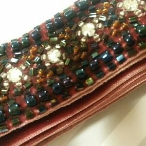 J. Crew Beaded Velvet Belt/Tie (Red/Maroon)