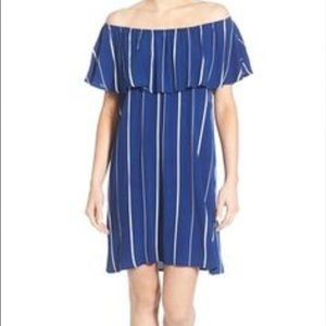 Everly Dresses & Skirts - NWT Everly striped off the shoulder dress blue