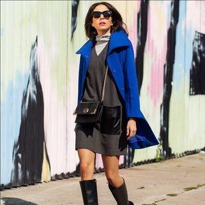 Ann Taylor shift dress, faux leather pockets