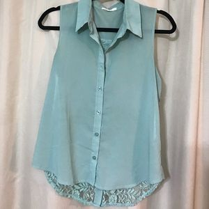 Teal Green Lace Button Down