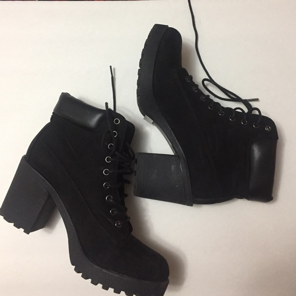 82ca91820520 Black suede combat boots with chunky heels