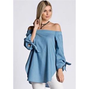 Goodnight Macaroon Tops - NWT chambray off the shoulder tie sleeve tunic