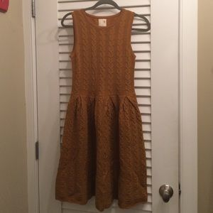 Anthropologie- wool cable knit sweater dress