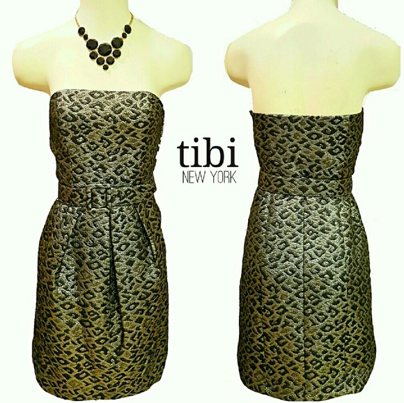 89370951e1d Tibi Black Gold Jacquard Belted Strapless Dress