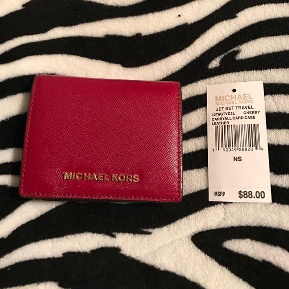 4a7d7b3acc49 Michael Kors Bags | Jet Set Card Case In Cherry | Poshmark