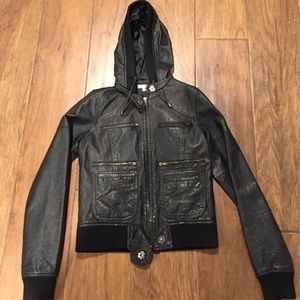 Solemio Jackets & Blazers - MLeather hooded jacket with pocket detail