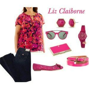 HP {Liz Claiborne} Painted Blouse