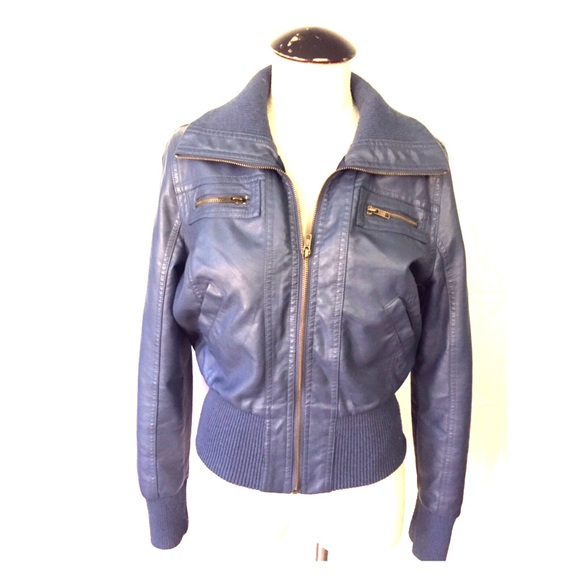 b0813aaa7 Ambience Apparel Faux Leather Bomber Jacket sz L