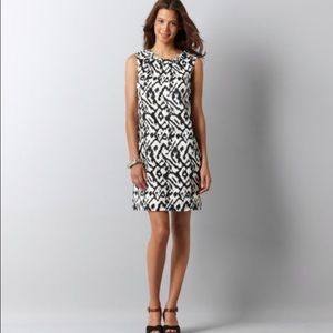 AT Loft ikat shift dress in gorgeous navy & white