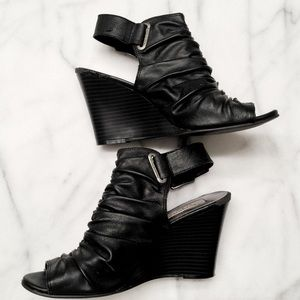 Vera Wang Shoes - VERA WANG Ruched Black Leather Wedges