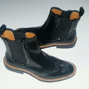 Zara leather shoes booties studded 8. 5