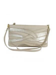 Bryna Nicole Handbags - Bryna Nicole- Cream & Silver Pebbled Shoulder Bag