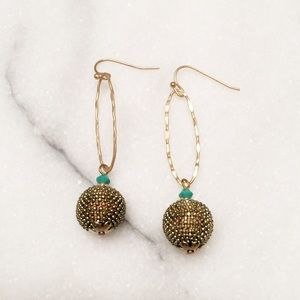 Jewelry - Gold + Turquoise Drop Earrings