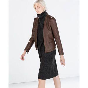 Zara Faux Leather Short Jacket - Brown - S