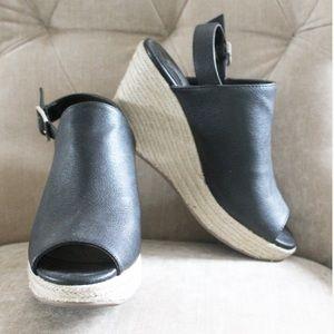 Forever 21 Shoes - Black Mule Slingback Espadrilles Wedges