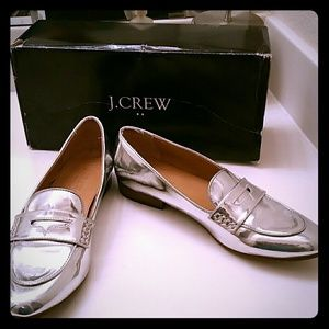 J. Crew Metallic Silver Penny Loafer Shoes