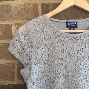 Chaps Tops - Chaps Grey Lace Top