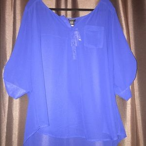 Sheer Royal Blue Blouse